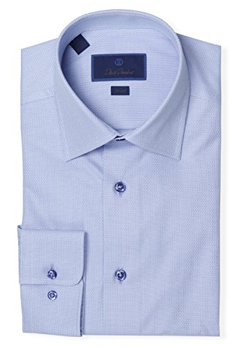 David Donahue Men's Trim Fit Micro Dot Printed Dress Shirt - Blue - 17 34/35 -