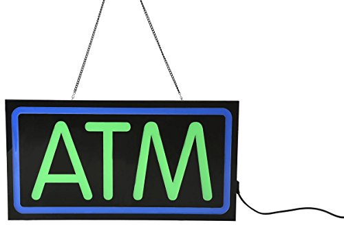 Led Sign Atm - ATM Sign for Store Window, LED Illuminated Sign with Hanging Chain, Crisp Lettering, Blue and Green