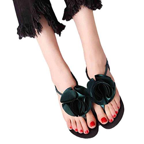 Women Sandals, Fullkang Women Flat Shoes Flower Bohemia Leisure Lady Sandals Peep-Toe Outdoor Shoes Green