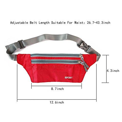 Mia's Schatz Kleine Unisex Taille Bauch Tasche mit Gürtel für Wandern, Joggen, Reisen, Knallige Farbe