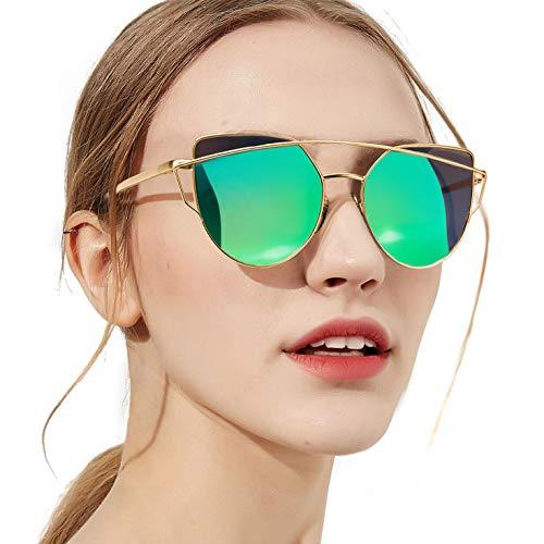 SODQW Polarized Cat Eye Sunglasses for Women, Mirrored Flat Lenses Fashion Metal Frame, UV 400 Protection (gold frame green mirrored cateye - Protection 400 Lens Uv