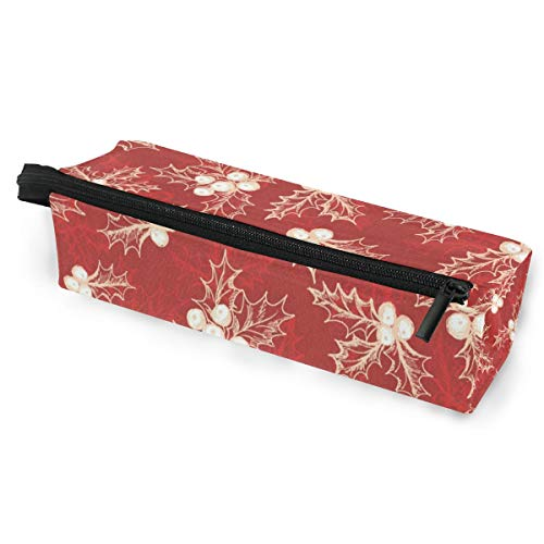 Sunglasses case Winter Christmas Holly Berry Pen Pencil Case Stationery Pouch Storage Box Cosmetic Bags Eyeglasses Bag with Hanging -