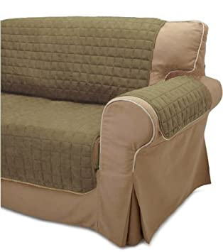 Quilted Micro Suede Pet Furniture Protector Slip Cover Throw Loveseat   Sage