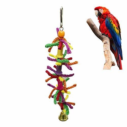 Roblue Jouets à Mâcher pour Perroquet Animaux Oiseau Corde de Coton avec Cloches Coloré 8 * 28cm YEAH