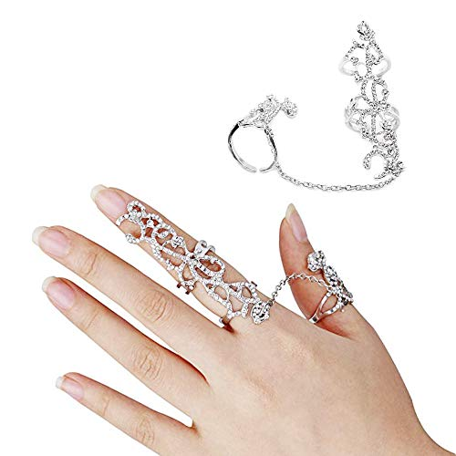 Knuckle Rings, Multiple Finger Stack Rings Adjustable Knuckle Chain Link Ring Bling Fashion Jewelry for Women ()