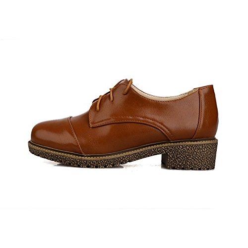 Amoonyfashion Femmes Matériau Souple Fermé Bout Rond Talons Bas Lacets Chaussures-chaussures Marron