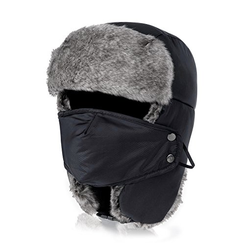Vbiger Trapper Hat with Ear Flaps Nylon Windproof Winter Warm Hunting Hats for Men & WomenVbiger Trapper Hat with Ear Flaps Nylon Windproof Winter Warm Hunting Hats for Men & Women (Black)