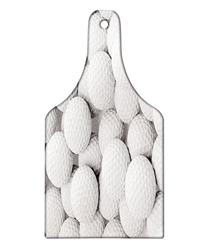 Lunarable Sports Cutting Board, Pile of Realistic Golf Balls Together Closeup Picture Challenge Entertainment Joyful, Decorative Tempered Glass Cutting and Serving Board, Wine Bottle Shape, White Gray