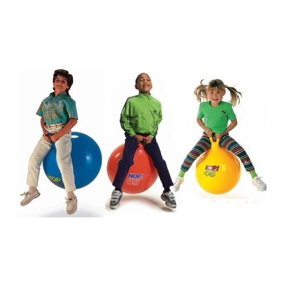 AMANNA Inflatable Sit and Bounce Rubber Bubble Hop Ball for Kids. Hopper Jump N Bounce Handle Ride-on Toy Bouncy for Kids, Hopping/Bouncing/Jump Balls for Child (Multi-Color) (Large)