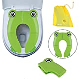 Safcare Folding Large Non-Slip Potty Training Seat for Boys and Girls, Travel Portable Reusable Toddlers Toilet Seat Covers Liners Fits Round & Oval Toilets with Carry Bag