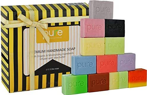 Gift Set Aromatherapy Soap! 12 Handmade Soap Bars. Artisan Soap Bars Family Pack for Men Women & Kids! Cold Process Soap Bars in Luxury Gift Box! Deluxe Soap - Natural Body & Face Soap!
