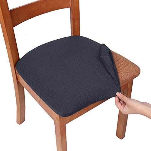 smiry Stretch Spandex Jacquard Dining Room Chair Seat Covers, Removable Washable Anti-Dust Dinning Upholstered Chair Seat Cushion Slipcovers – Set of 4, Dark Grey