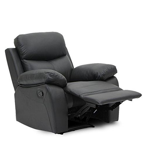 VIVA HOME Recliner Chair 1 Single Seat Top Grain Leather In Black, Viva6071C-BLK