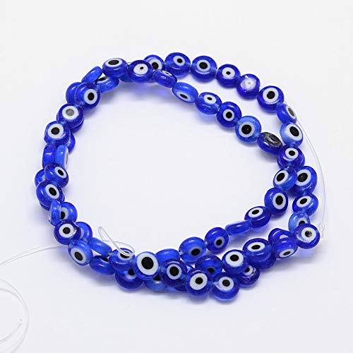 NBEADS 10 Strands (About 49pcs/Strand) Blue Handmade Evil Eye Lampwork Glass Beads Flat Round Spacer Loose Beads for Bracelet Necklace Jewelry Making -