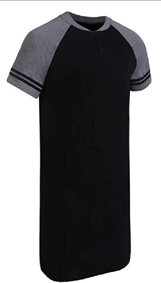Mens Nightshirts Short Sleeve Nightwear Henley Sleepshirt Kaftan Pajama with Pocket