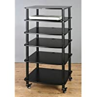 VTI AR406 6 Shelf Black Audio Rack - Black / Black