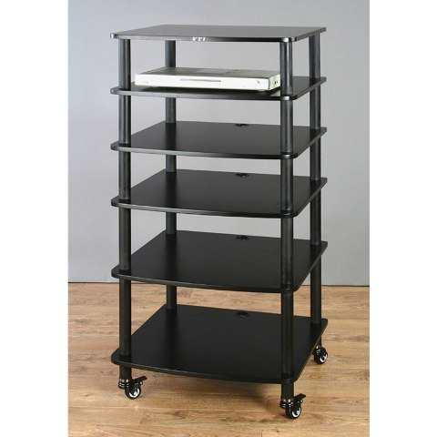 VTI AR406 6 Shelf Black Audio Rack - Black/Black AR406BB