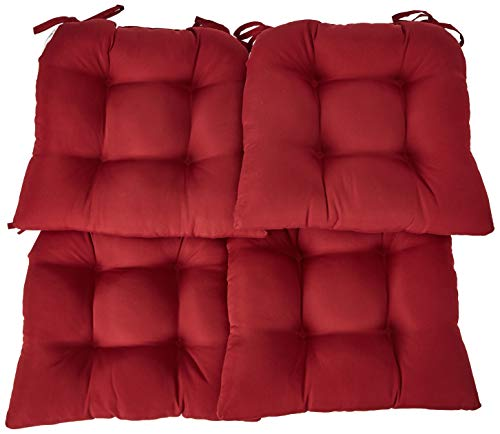 Essentials Micro Fiber Set of Four (4) Seat Cushions Barn Red-Comfortable, Indoor, Dining, Living Room, Kitchen, Office, Den, Washable, Fabric Ties Chair Pad Piece -