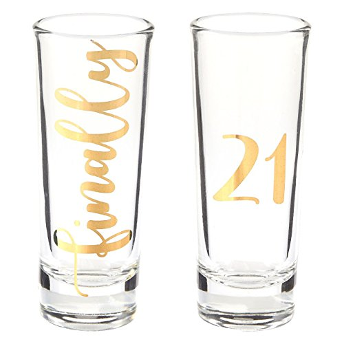 Novelty Shot Glass - Novelty Birthday Gift - Finally 21 Shot Glasses Pair with Gold Foil Print for Celebrating Turning Legal Drinking Age Party Favors- Set of 2, 2 oz Each
