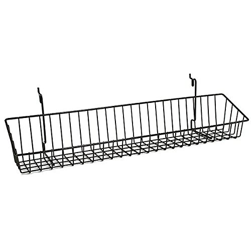 Count of 5 New Black Wire Basket fits Slatwall,Grid,Pegboard 23w x 4d x 3h