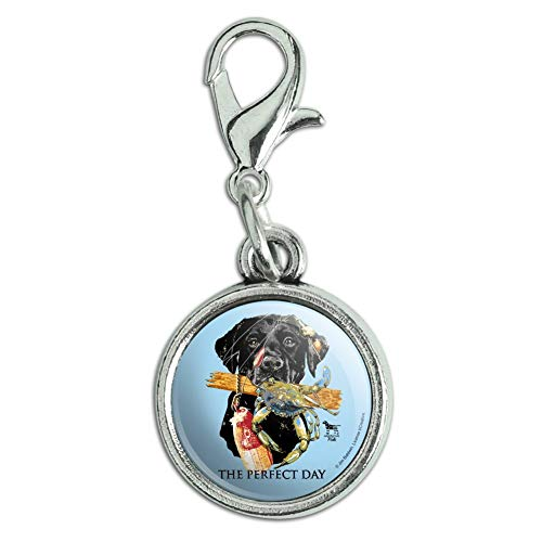 - GRAPHICS & MORE The Perfect Day Black Lab Labrador Dog Buoy Crab Fishing Antiqued Bracelet Pendant Zipper Pull Charm with Lobster Clasp