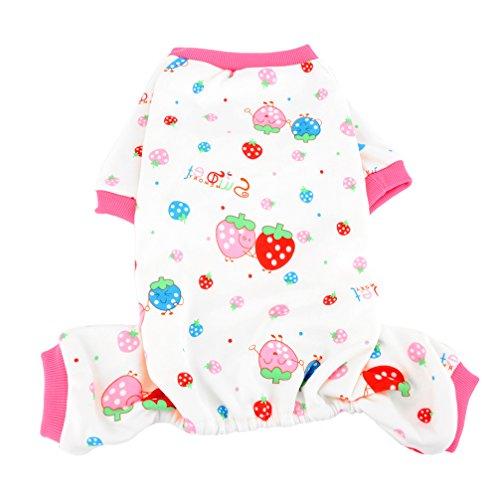 Ranphy Fleece Dog Pajamas Strawberry Print Chihuahua Outfits Yorkshire Cotton Cozy Shirt Pajamas for Dogs Cat Pet PJS White S