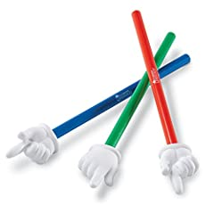 "Focus attention and encourage classroom participation with these whimsical hand pointers. These 15"" pointers are ideal to use with whiteboards, interactive whiteboards, pocket charts, maps and overheads. Set of 3."