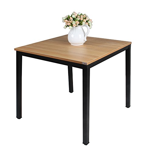 Need Square Dining Room Table- 31.5'' Sturdy and Heavy Duty Writing Desk for Small Spaces and Students Laptop Use, Teak Color Surface Black Legs AC3BB-80-80