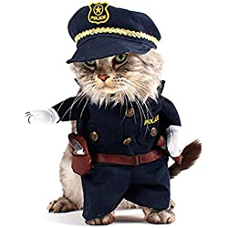 SMALLLEE_LUCKY_STORE Cat Dog Policeman Costume Clothes for 20 lb Pet Puppy, X-Large, Black