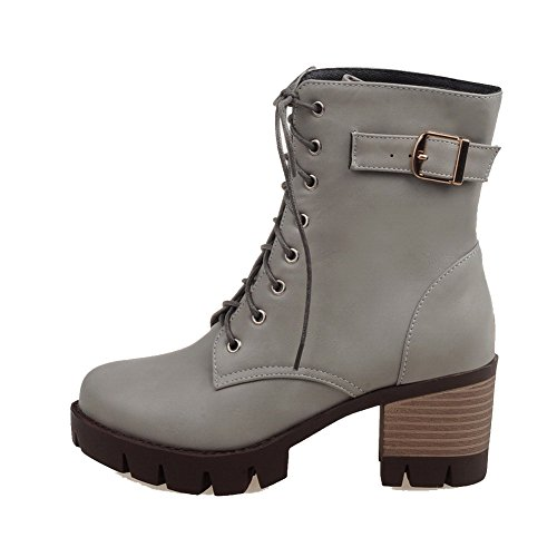 Lace PU Closed Kitten up Toe Solid Women's Gray Round Heels Allhqfashion Boots xZ78WqH