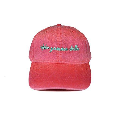 Desert Cactus Alpha Gamma Delta Sorority (N) Baseball Hat Cap Cursive Name Font Adjustable Leather Strap Alpha Gam (Coral)