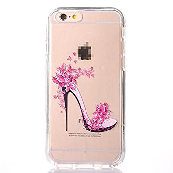 iPhone 6 Plus/6S Plus Pattern Case, GreenDimension Slim Soft TPU Silicone Crystal Clear Cushion Shock-resistant Skin Case + High-heeled Shoes Transparent Hard PC Shell Cover Screen + Touchscreen Pen