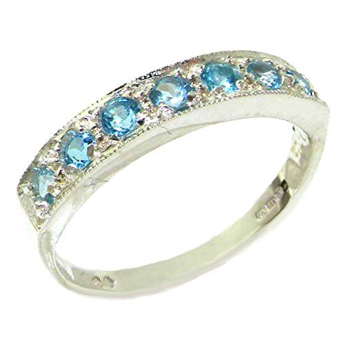 925 Sterling Silver Natural Blue Topaz Womens Band Ring - Sizes 4 to 12 Available