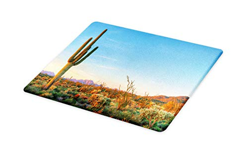 Ambesonne Saguaro Cutting Board, Sun Goes down in Desert Prickly Pear Cactus Southwest Texas National Park, Decorative Tempered Glass Cutting and Serving Board, Large Size, Orange Blue ()