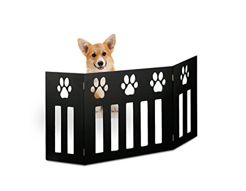 (Kleeger Freestanding Folding Dog Gate - For Small Pets. [Paw Deco'r Decorative Design].No Tools Required (Black))