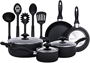 Food Network Cookware Set RACHAEL RAY Premium Nonstick Porcelain Enamel Cookware 10 Piece, Purple, Glass Lid