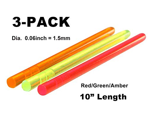NJGIANT 3-Pack Tactical Replacement High Brightness Glow Stick Fluorescence Fiber Optic Sight Rod Green/Red/Orange for Bow and Gun Sight (0.06)