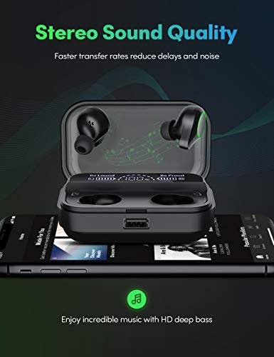 Wireless Earbuds, Kissral Bluetooth 5.0 Headphones with 4000mAh Charging case LED Battery Display 130 Hrs Playtime IPX7 Waterproof in-Ear Built-in Mic True Wireless Earbuds for Workouts