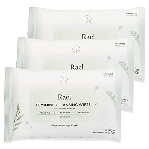 Natural Feminine Care (Rael Feminine Wipes with natural ingredients, use day or night, flushable, pH-balanced, gentle and safe on the skin. (3 Pack))