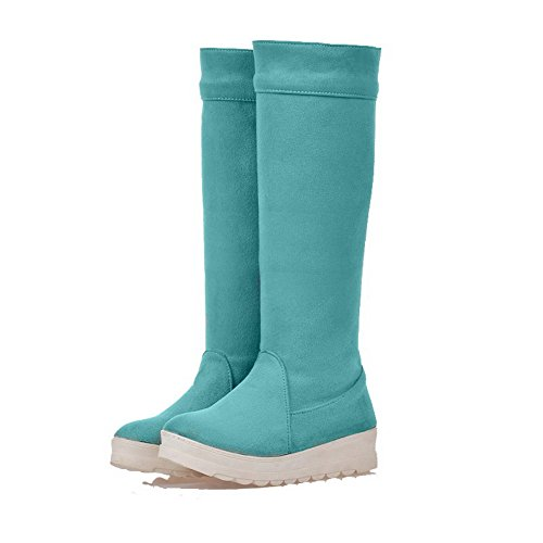 Allhqfashion Women's Frosted Pull-On Round Closed Toe Low-Heels High-Top Boots Lightblue gNjZ5mLog