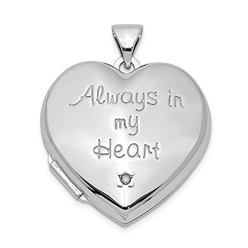 925 Sterling Silver Rhodium-plated Heart with Locket Pendant 0.005ct Diamond Accented