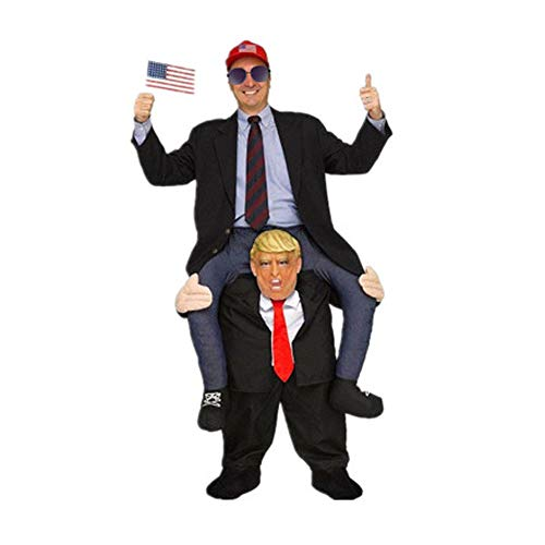 Funny Cartoon Characters For Halloween (Cartoon Characters Piggyback Costumes - Funny Halloween Costumes for Adults - Ride On Shoulder Costume - Carry Me Costume (Leader Donald)
