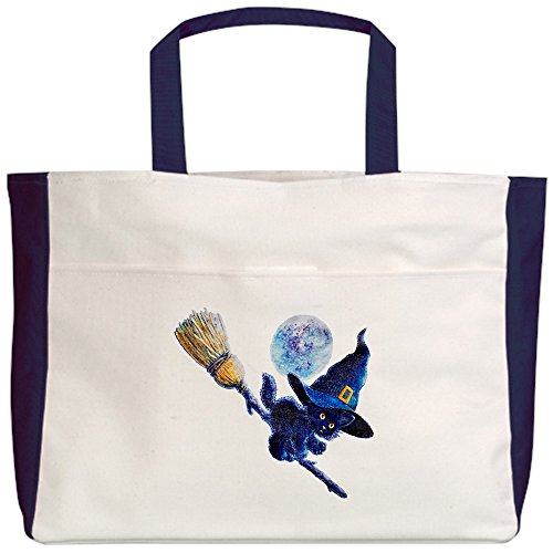 Royal Lion Beach Tote (2-Sided) Halloween Kitten Witch Broom Moon - Navy]()