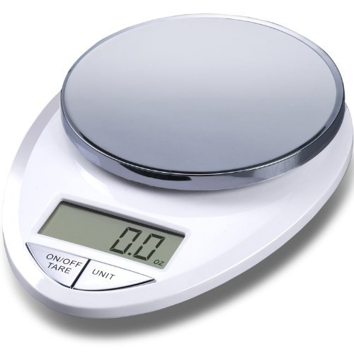 EatSmart Precision Pro Digital Kitchen Scale, White Chrome