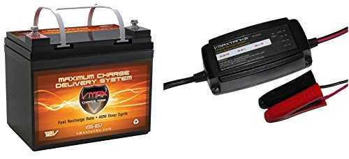"VMAX857 & BC1204A PKG 12 Volt 35Ah SLA AGM Deep Cycle Group U1 Battery & VMAX 3.3Amp 4-Stage 12V Microprocessor Controlled ""Smart"" Charger/ Tender/ Maintainer"