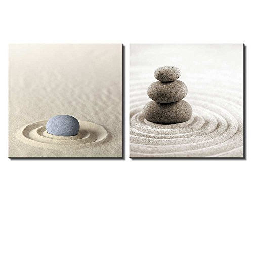 Two Piece Rocks on Soft Sand with Raked Patterns on 2 Panels