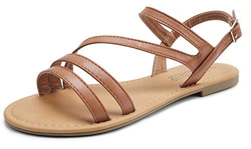 SANDALUP Women's Double Open Toe Band Adjustable Slingback Buckle Flat Sandals Brown 09