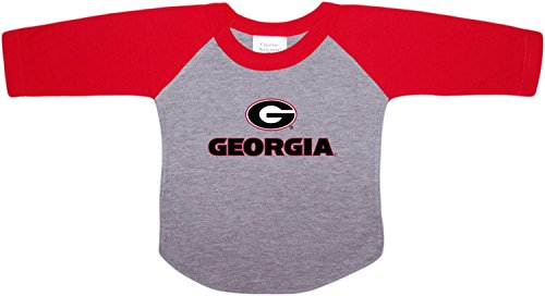 Creative Knitwear University of Georgia Bulldogs Circle G Newborn Infant Baby Ragland Sleeve Shirt,Red,24 Months