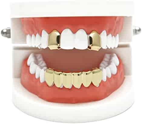 Gold Grillz Best Gift for Son-New Custom Fit 14k Plated Gold, Silver, Rose Gold Grillz - Excellent Cut for All Types of Teeth - Top and Bottom Grill Set