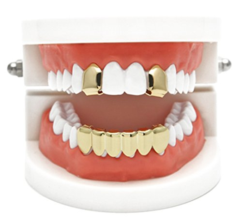 Hop Real Hip Bling (Charly Shop Gold Grillz Best gift for Son-New Custom Fit 14k Plated Gold, Silver, Rose Gold Grillz - Excellent Cut for All Types Of Teeth - Top and Bottom Grill Set - Hip Hop Bling Grillz)